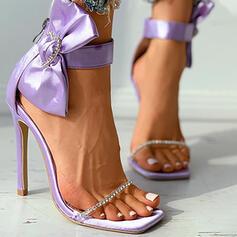 Women's PU Stiletto Heel Pumps Peep Toe With Rhinestone Bowknot shoes