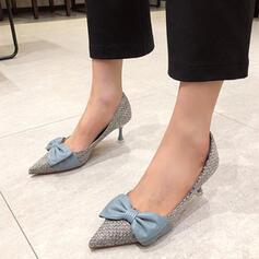 Frauen PU Stöckel Absatz Absatzschuhe High Top Spitze mit Bowknot Spleißfarbe Schuhe