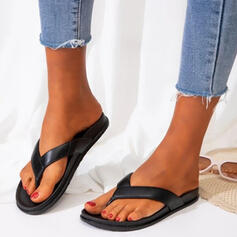 Women's PVC Flat Heel Sandals Flats Peep Toe Flip-Flops Slippers With Hollow-out Crisscross shoes