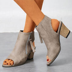 Women's PU Chunky Heel Peep Toe Ankle Boots With Zipper Solid Color shoes