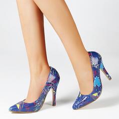 Frauen PU Stöckel Absatz Absatzschuhe Spitze mit Spleißfarbe Farbblock Gestreift Schuhe