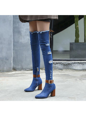 Women's Denim Chunky Heel Over The Knee Boots Pointed Toe With Zipper shoes