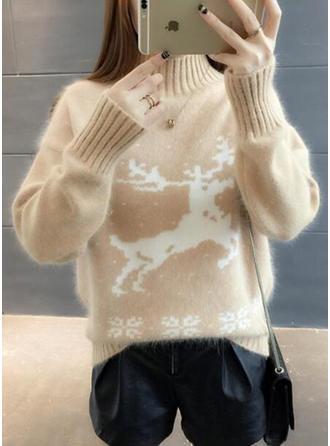 Animal-Print Rollkragen Weihnachten Pullover