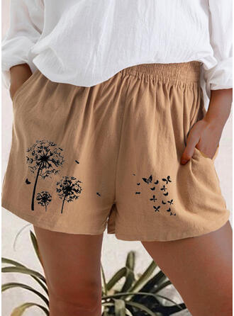 Print Plus Size Casual Print Shorts