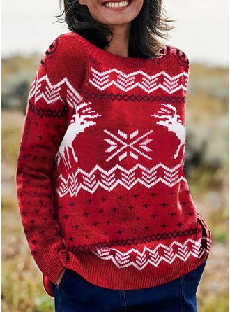 Animal-Print Rundhalsausschnitt Freizeit Weihnachten Pullover