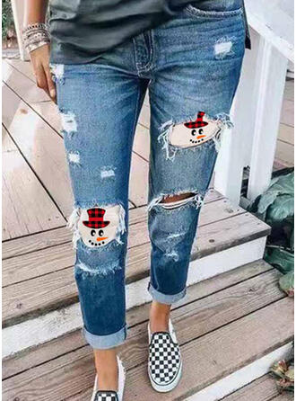 Patchwork Plus Size Ripped Christmas Casual Tribal Denim & Jeans