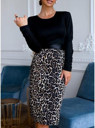 Leopard Lange Ärmel Figurbetont Knielang Freizeit Kleider