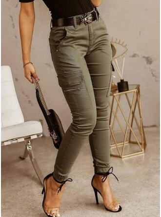 Solid Long Casual Vintage Pocket Shirred Pants