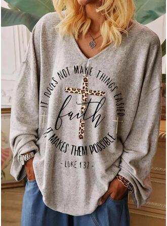 Drucken Leopard V-Ausschnitt Lange Ärmel Freizeit T-shirts