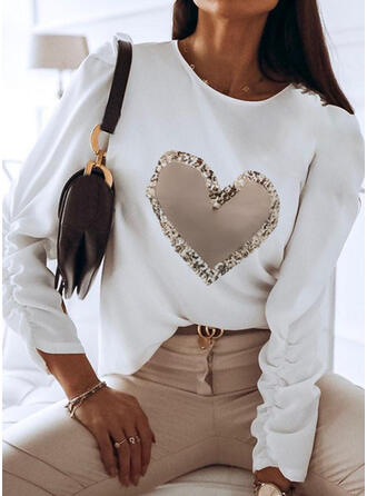 Heart Print Sequins Round Neck Long Sleeves T-shirts