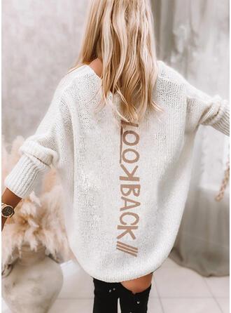 Print Letter V-Neck Casual Sweater Dress