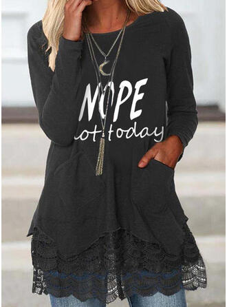 Print Letter Lace Round Neck Long Sleeves Raglan Sleeve Casual Blouses