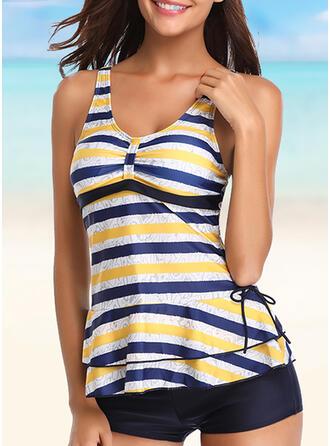 Stripe V-Neck Novelty Tankinis Swimsuits