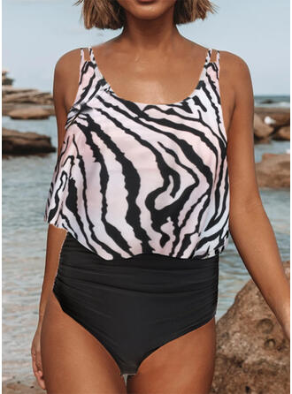 Leopard High Waist Strap U-Neck Sexy Tankinis Swimsuits