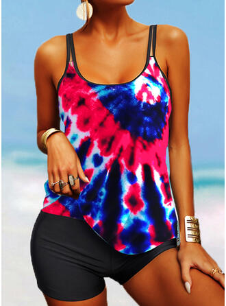 Colorful Strap U-Neck Fashionable Plus Size Casual Tankinis Swimsuits