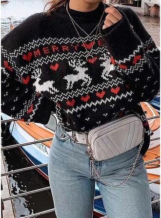 Animal-Print Rundhals Freizeit Weihnachten Pullover