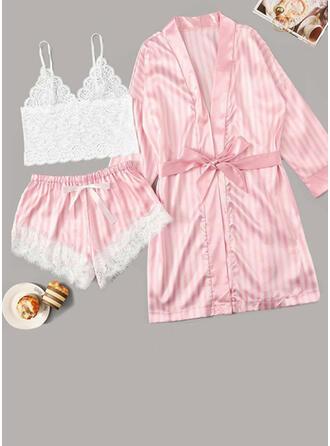 Polyester Lace Cami Set Robe Pyjama Set