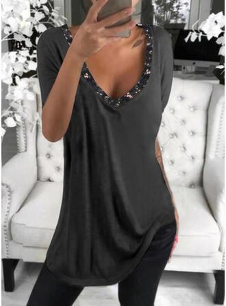 Sequins Solid V-Neck Short Sleeves T-shirts
