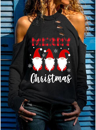 Drucken Figur Kalte Schulter Lange Ärmel Weihnachten Blusen