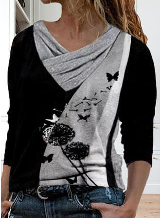 Color Block Dandelion Print Animal V-Neck Long Sleeves T-shirts