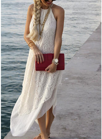 Lace/Solid Sleeveless Shift Slip Casual/Vacation Maxi Dresses