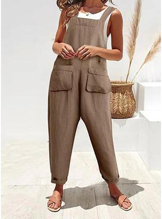 Taschen Shirred Lange Lässige Kleidung Einfach Overalls & Strampler