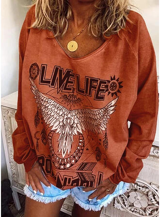 Animal Print Figure Round Neck Long Sleeves Casual Knit T-shirts