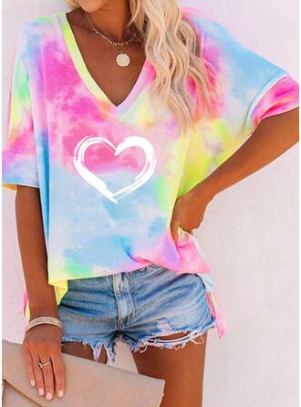 Heart Print Tie Dye V-Neck 1/2 Sleeves T-shirts