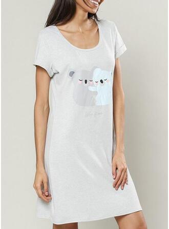 Round Neck Short Sleeves Print Casual Night Dress