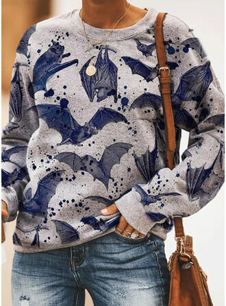 Halloween Animal Print Round Neck Long Sleeves Sweatshirt