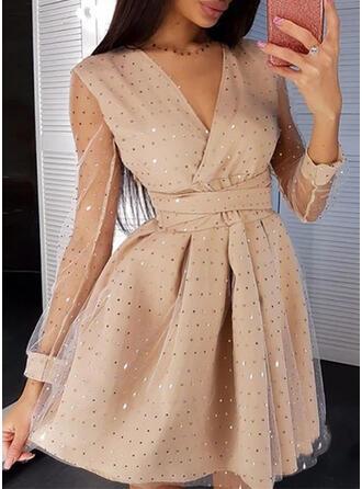 Print/Sequins Long Sleeves A-line Above Knee Party/Elegant Skater Dresses