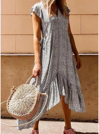Print Cap Sleeve Shift Asymmetrical Casual Dresses