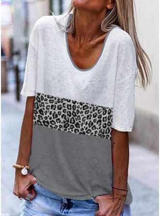 Color Block Leopard V-Neck 1/2 Sleeves T-shirts
