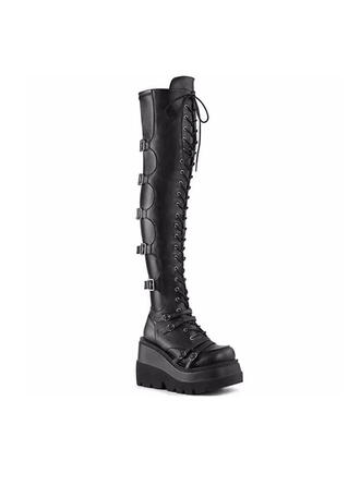 Women's Leatherette Wedge Heel Over The Knee Boots Round Toe Combat Boots With Buckle Lace-up shoes