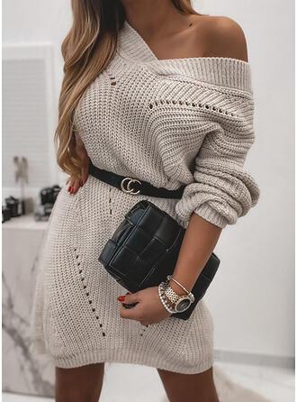 Einfarbig V-Ausschnitt Freizeit Pulloverkleid