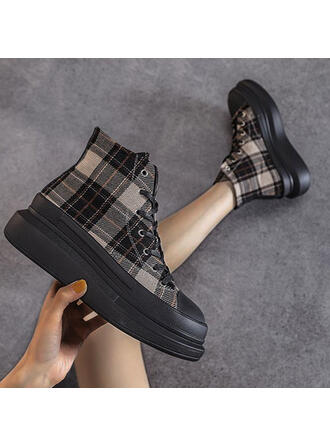 Women's Canvas Flat Heel Ankle Boots Pointed Toe With Lace-up shoes