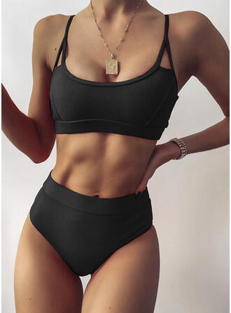 Solid Color Strap U-Neck Sexy Bikinis Swimsuits