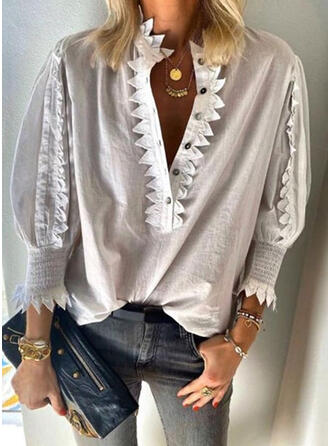 Solid Lace Button V-Neck Lantern Sleeve 3/4 Sleeves Button Up Casual Blouses