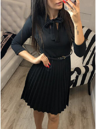 Solid 3/4 Sleeves A-line Knee Length Casual Skater Dresses