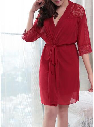 Polyester Spitze Lycra Chinlon Spitze Mesh Halfter Sexy V-Ausschnitt Verlockend Pyjama Set