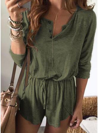 Einfarbig V-Ausschnitt 3/4 Ärmel Lässige Kleidung Urlaub Strampler