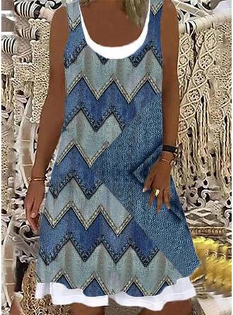 Print Sleeveless Shift Knee Length Casual Tank Dresses