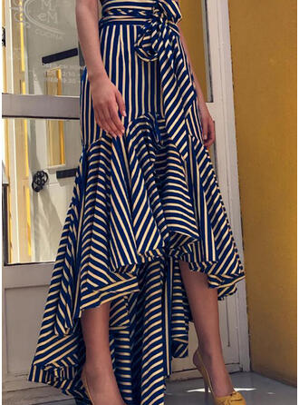 Cotton Striped Maxi Asymmetrical A-Line Skirts Asymmetrical