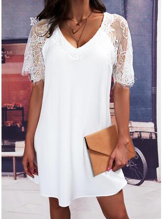 Solid Lace Short Sleeves Shift Knee Length Elegant Dresses