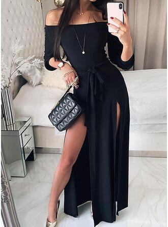 Solid 3/4 Sleeves A-line Skater Little Black/Elegant Maxi Dresses