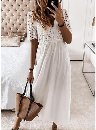 Solid Short Sleeves A-line Skater Casual/Vacation Maxi Dresses