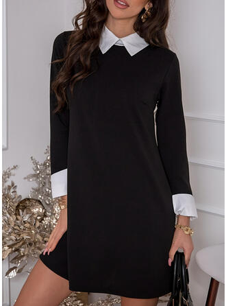 Color Block Long Sleeves Shift Above Knee Elegant Tunic Dresses