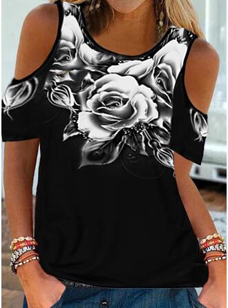Floral Print Cold Shoulder Short Sleeves T-shirts