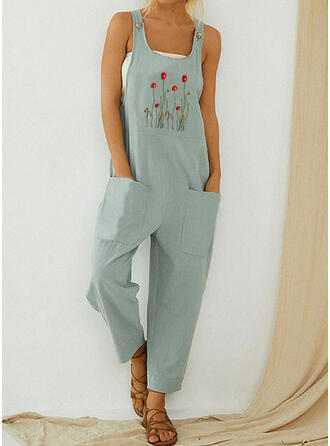 Embroidery Strap Sleeveless Casual
