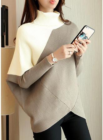 Geblockte Farben Rollkragen Übergroßen Freizeit Pulloverkleid